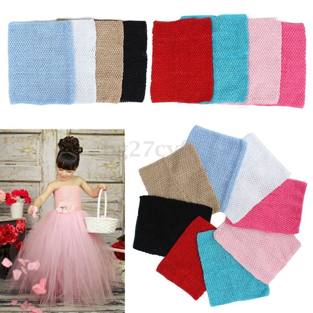 "6/"" x 6/"" Crochet Tube Top Elastic Waistband Headband Hair Band Girls Tutu Skirt"