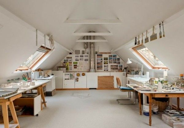 15 Bright Attic Spaces For An Office Or Studio Art Studio Room Attic House Attic Renovation