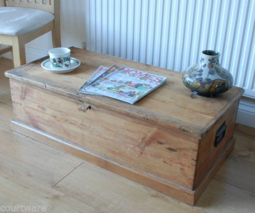 Old Antique Pine Plank coffee table chest blanket box storage trunk