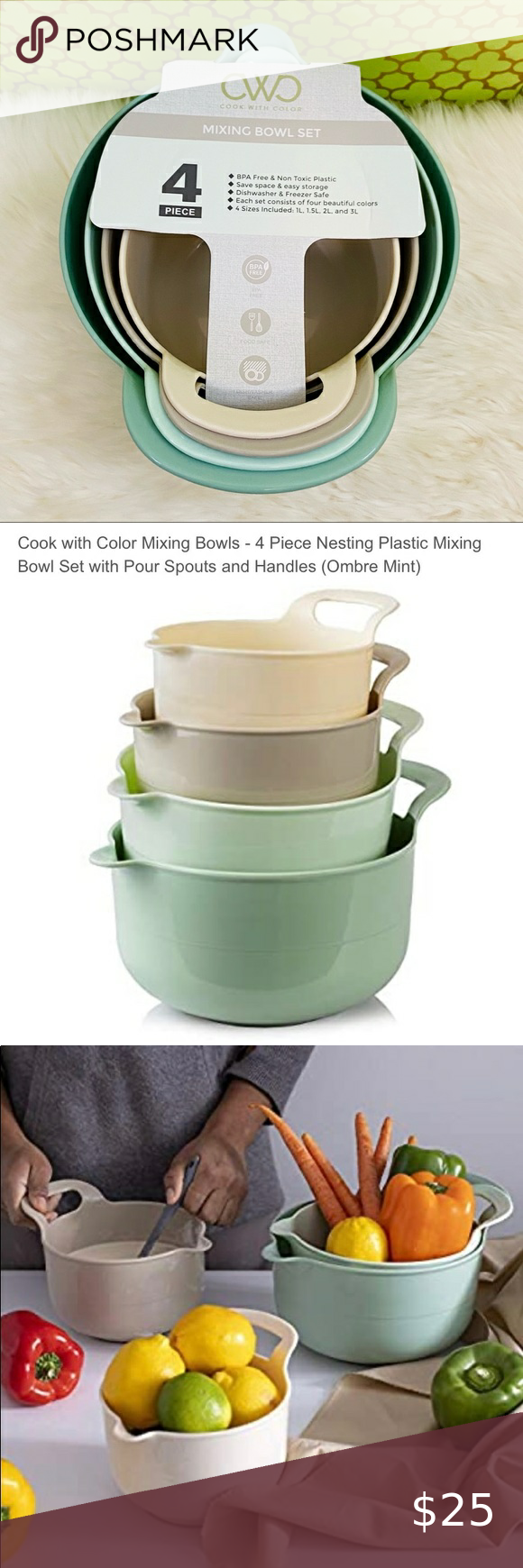4 Piece Nesting Plastic Mixing Bowl Set with Pour Ombre Blue Mixing Bowls