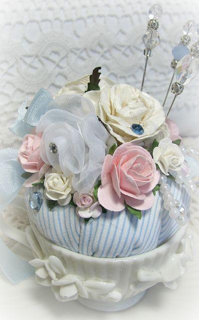 Petite Tea Cup Pincushion Pincushion Roses Handmade