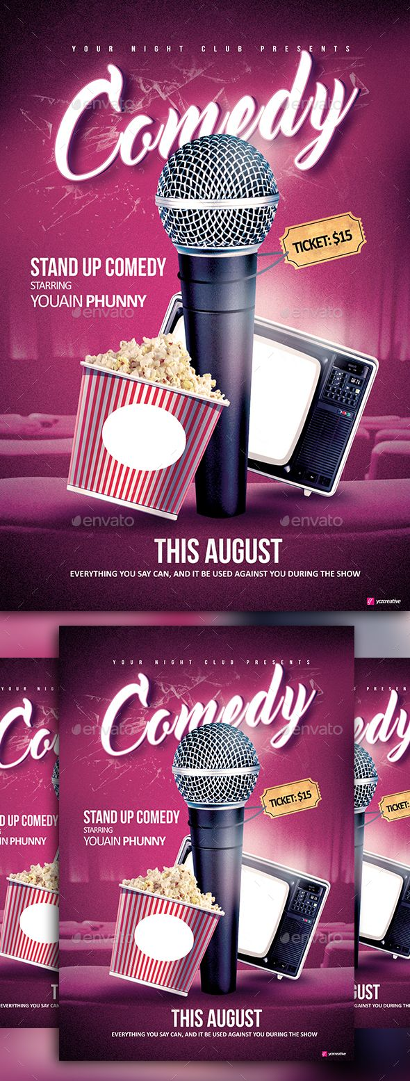 Stand Up Comedy  Event Flyers Graphics And Advertising Design