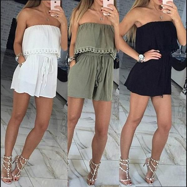 a9040ee696 Sexy Women s Off Shoulder Wapped Chest Jumpsuit Romper Slim Fit Short  Playsuit Casual Party Clothes