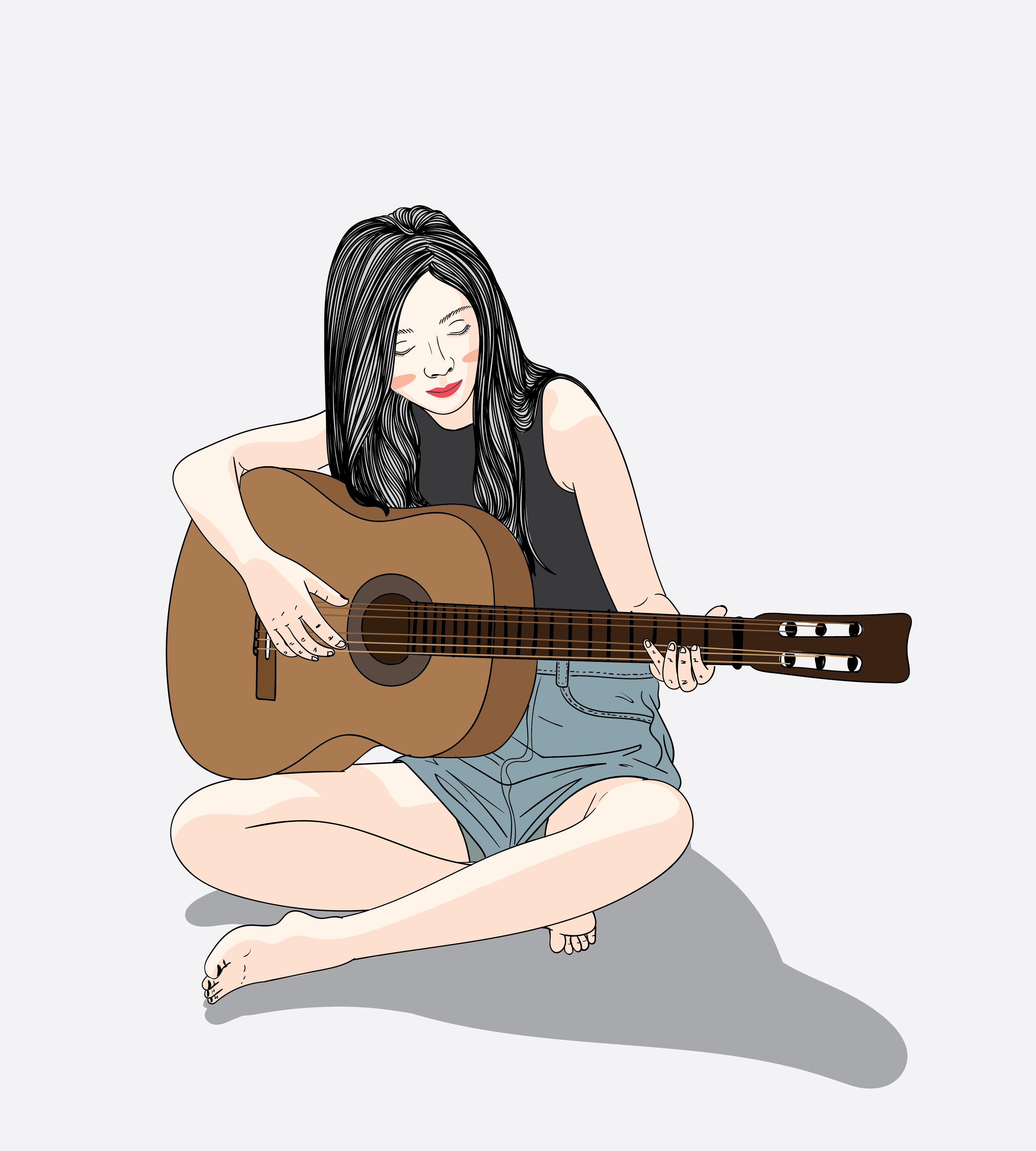Woman Who Plays The Guitar On Vacation In 2020 Girls Cartoon Art Illustration Art Girl Girly Art