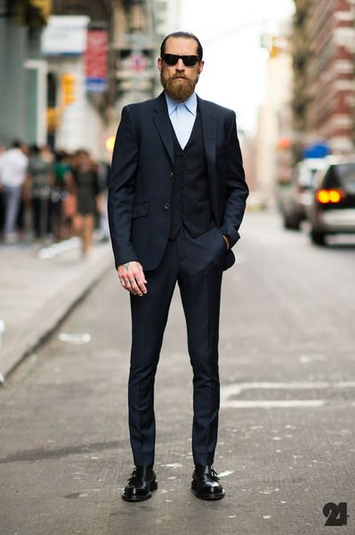 When your suit is this well-tailored and exquisite. Facial hair just becomes an accessory.