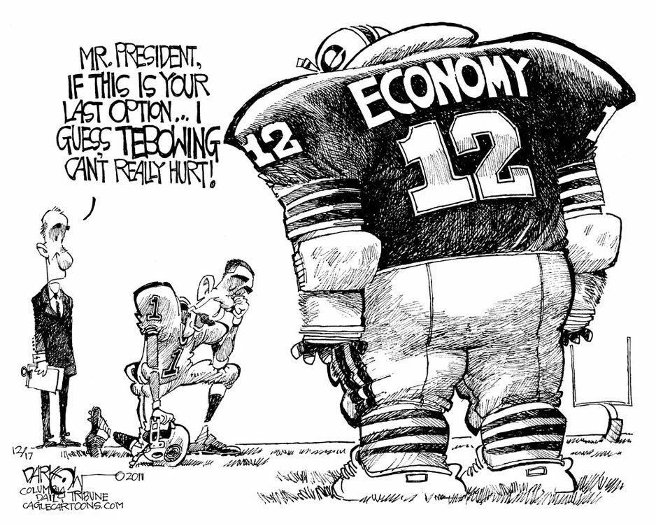 Obama Tebowing And Economy Cartoon Free Jokes Political Satire