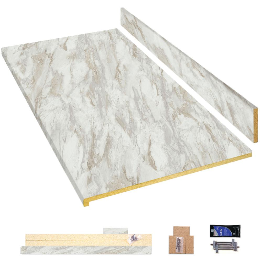 Hampton Bay 8 Ft Laminate Countertop Kit In Drama Marble With Ora Edge 12349kt08n5010 The Home Depot Laminate Countertops Countertop Kit Countertops