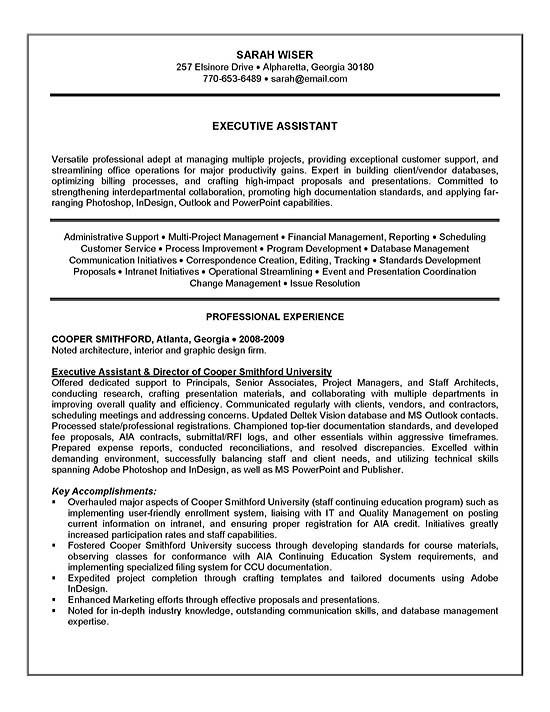 assistant resume executive example sample for administrative susan - example resumes