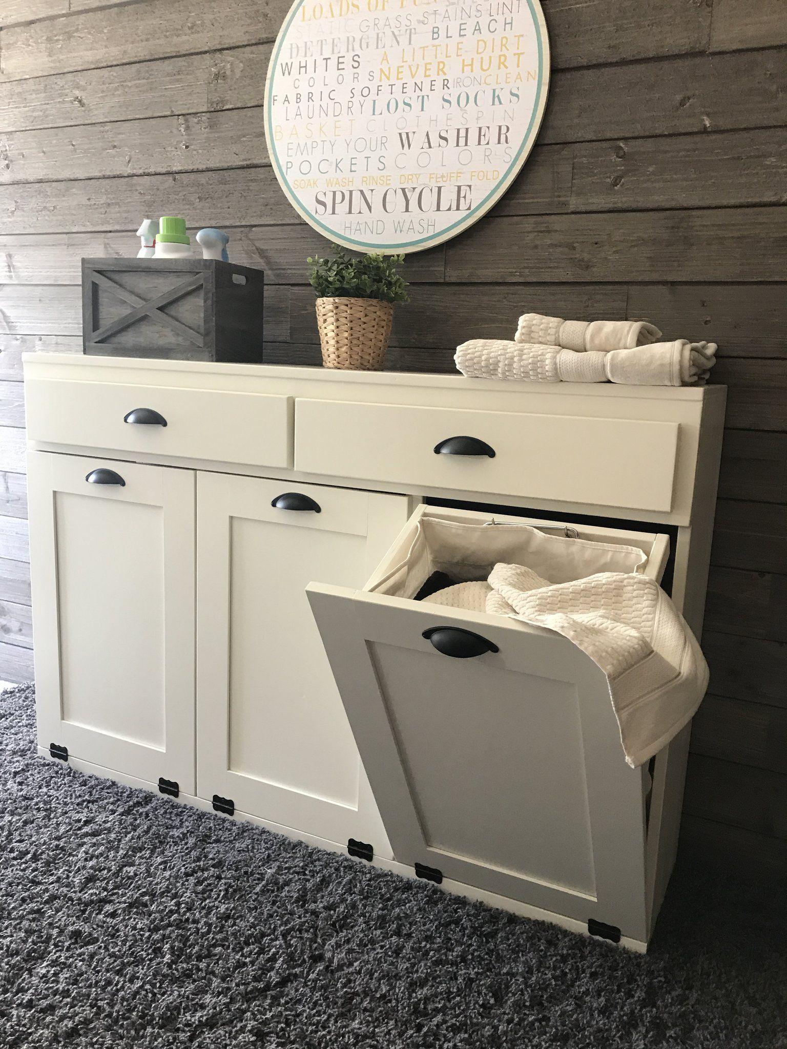 triple laundry hamper with storage drawers (3REG-LAU-DRAW-multi)