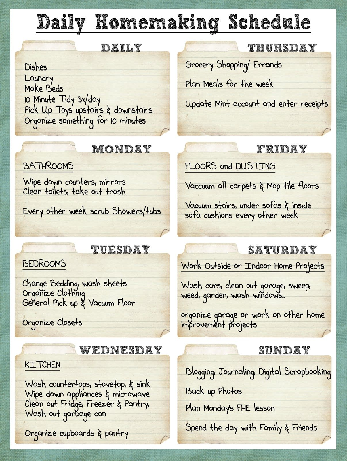 DailyHomemakingSchedulejpg 1206 1600 pixels – Cleaning Schedule