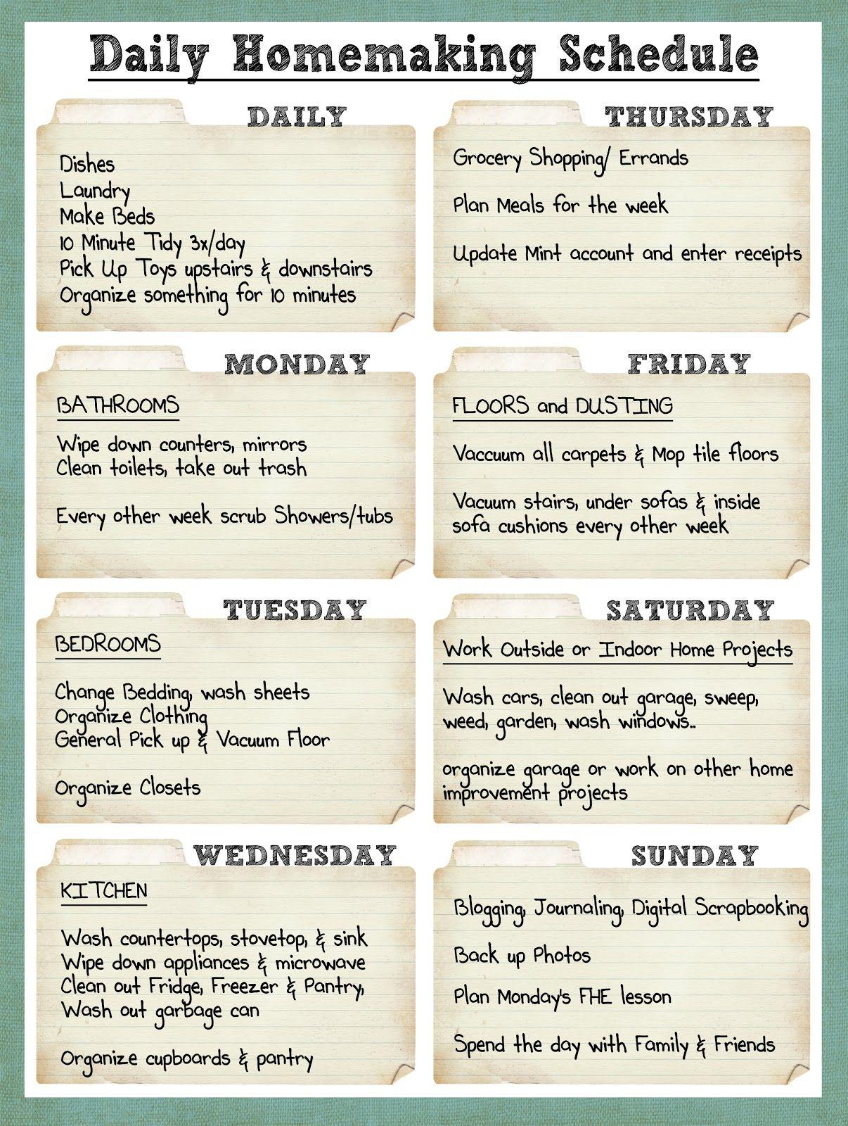 Daily+Homemaking+Schedule.jpg 1,206×1,600 pixels