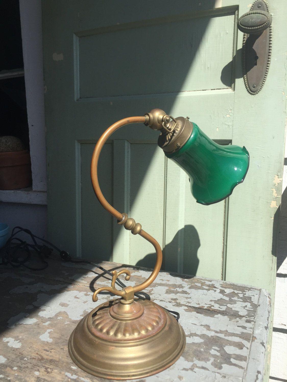 Brass Gooseneck Emeralite Shade Desk Lamp by LimeSilo13 on Etsy ...