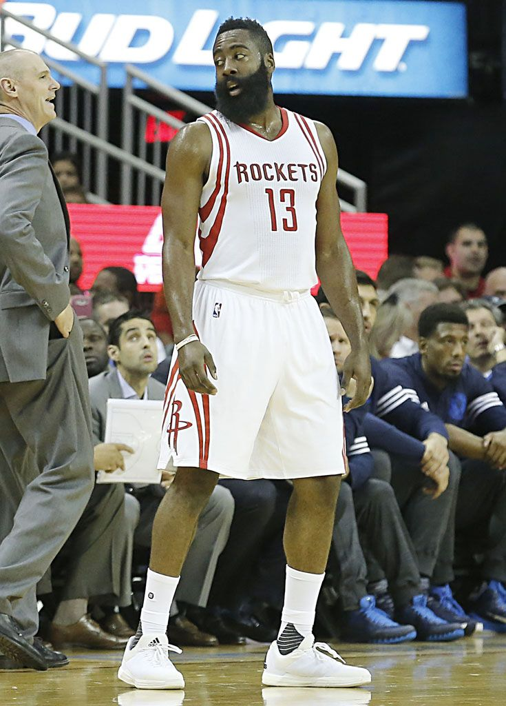 c23c57f2086 James Harden Wears All-White adidas Crazylight Boost 2015 (3 ...