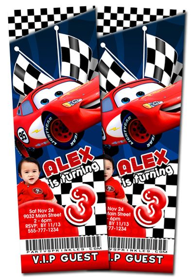 Disney Cars Birthday party Ticket invitation By PartySprinkles - party ticket invitations