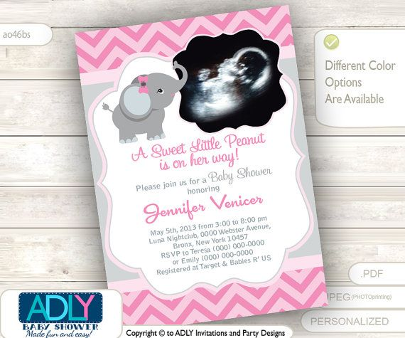 Pink grey elephant ultrasound photo baby shower invitation for girl pink grey elephant ultrasound photo baby shower invitation for girlpurple chevron ultrasonicphoto gray you print sku46bs filmwisefo