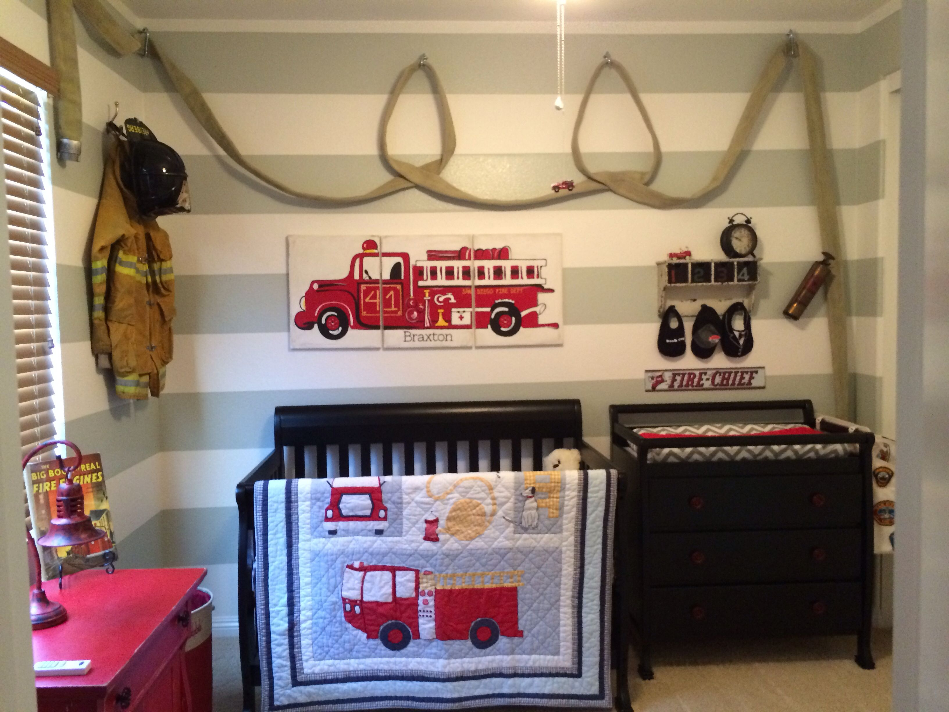 Firefighter nursery with hose baby stuff pinterest for Room decor stuff