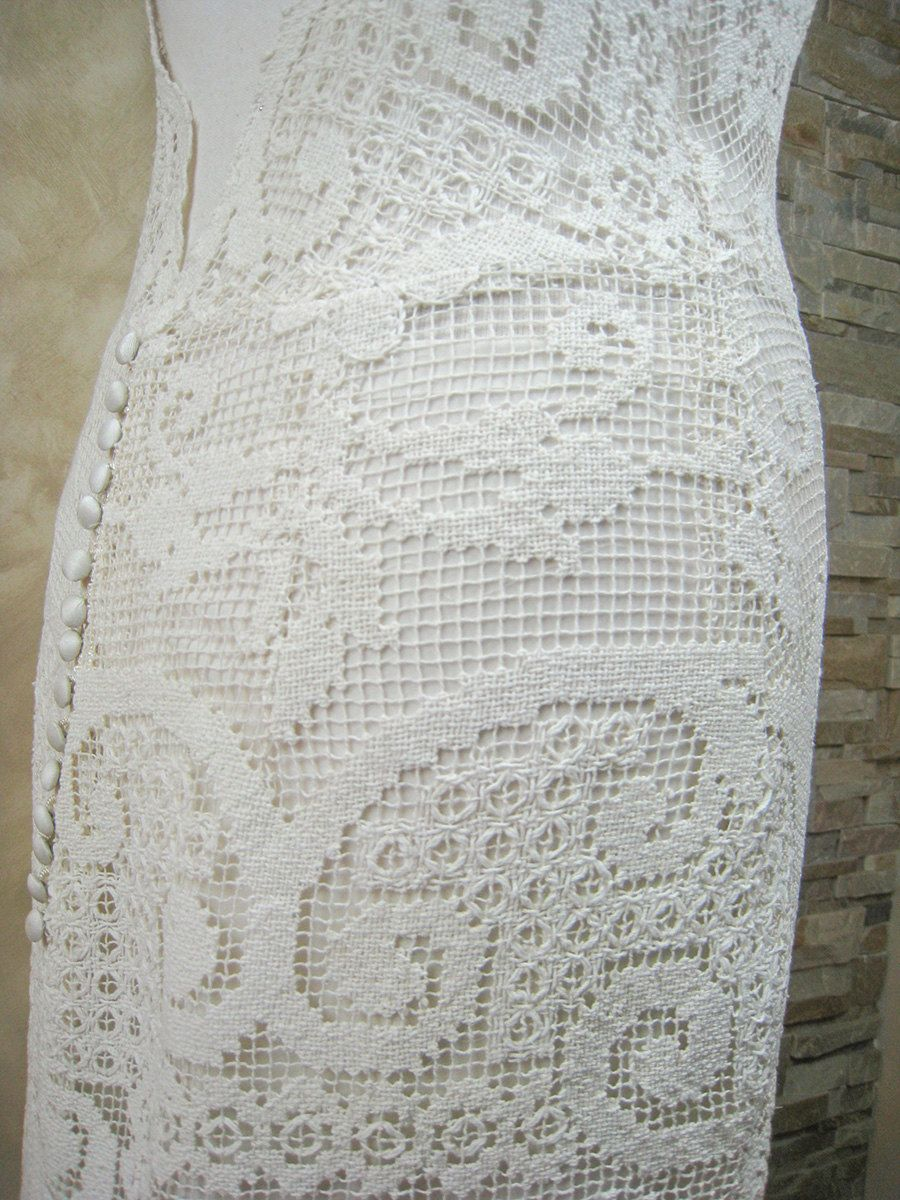 Exclusive ivory lace wedding dress, bridal dress made from vintage ...