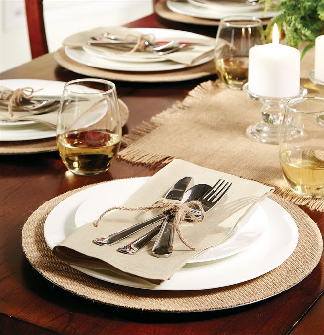 These are wide burlap dinner plate chargers. To used under the actual dinner plate. Burlap textured charger provides the perfect neutral accent for most any ... & Burlap Charger Plates | Hessian Plate chargers and Wedding