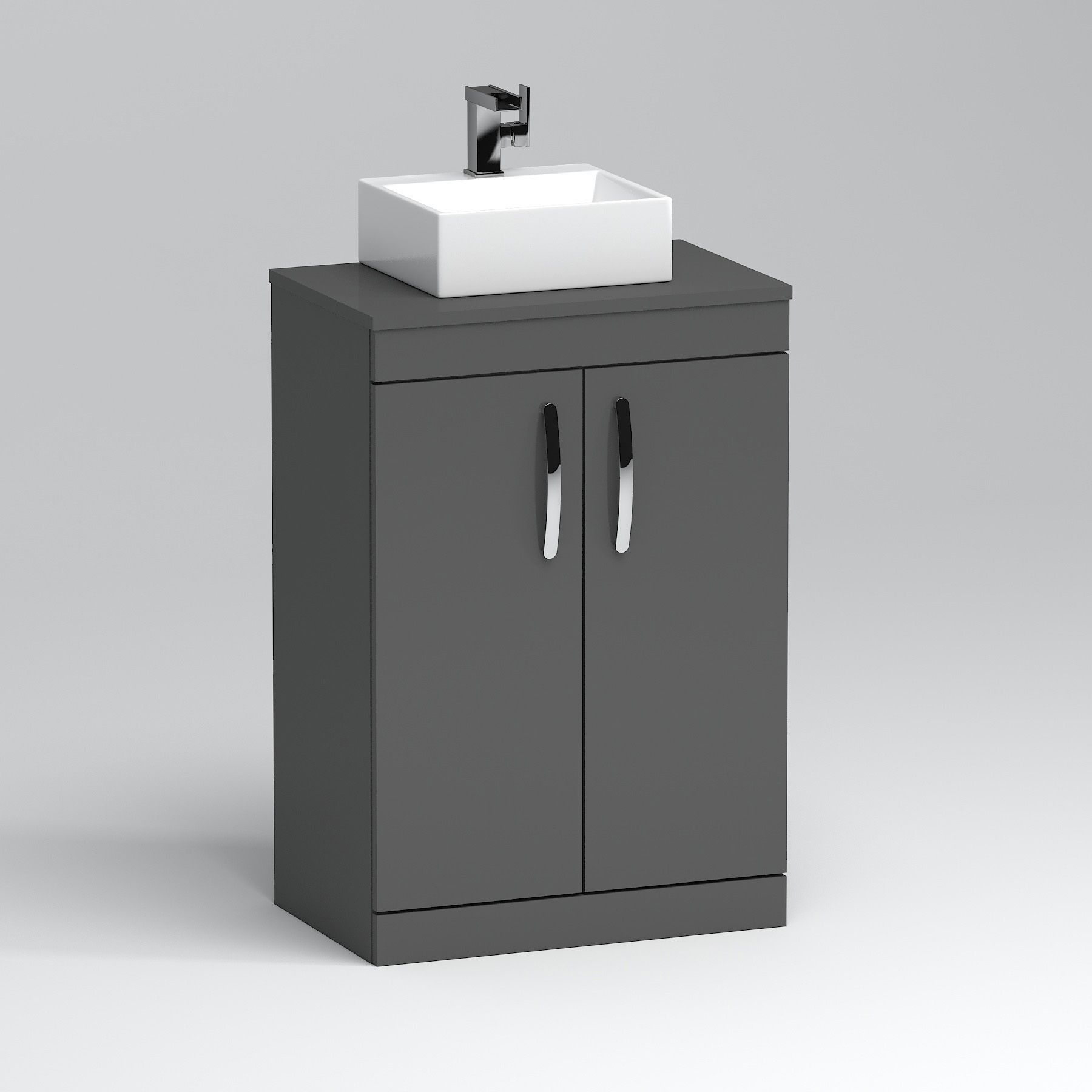 600mm Floor Standing Vanity Unit 2 Door Indigo Grey Gloss Countertop Basin Aqua 600mm Aqua Basin Counter In 2020 Vanity Units Countertop Basin Basin Vanity Unit
