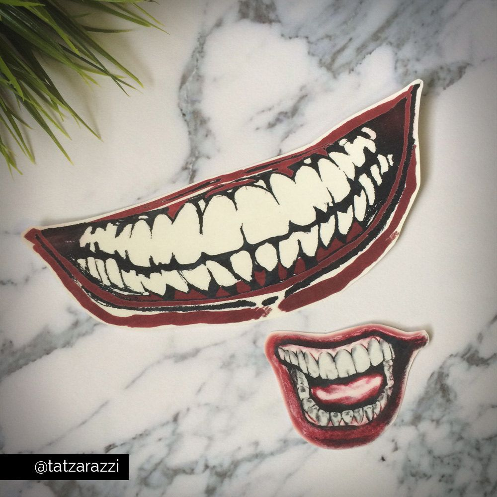 Joker Mouths Smile Temporary Tattoo By Tatzarazzi Costume