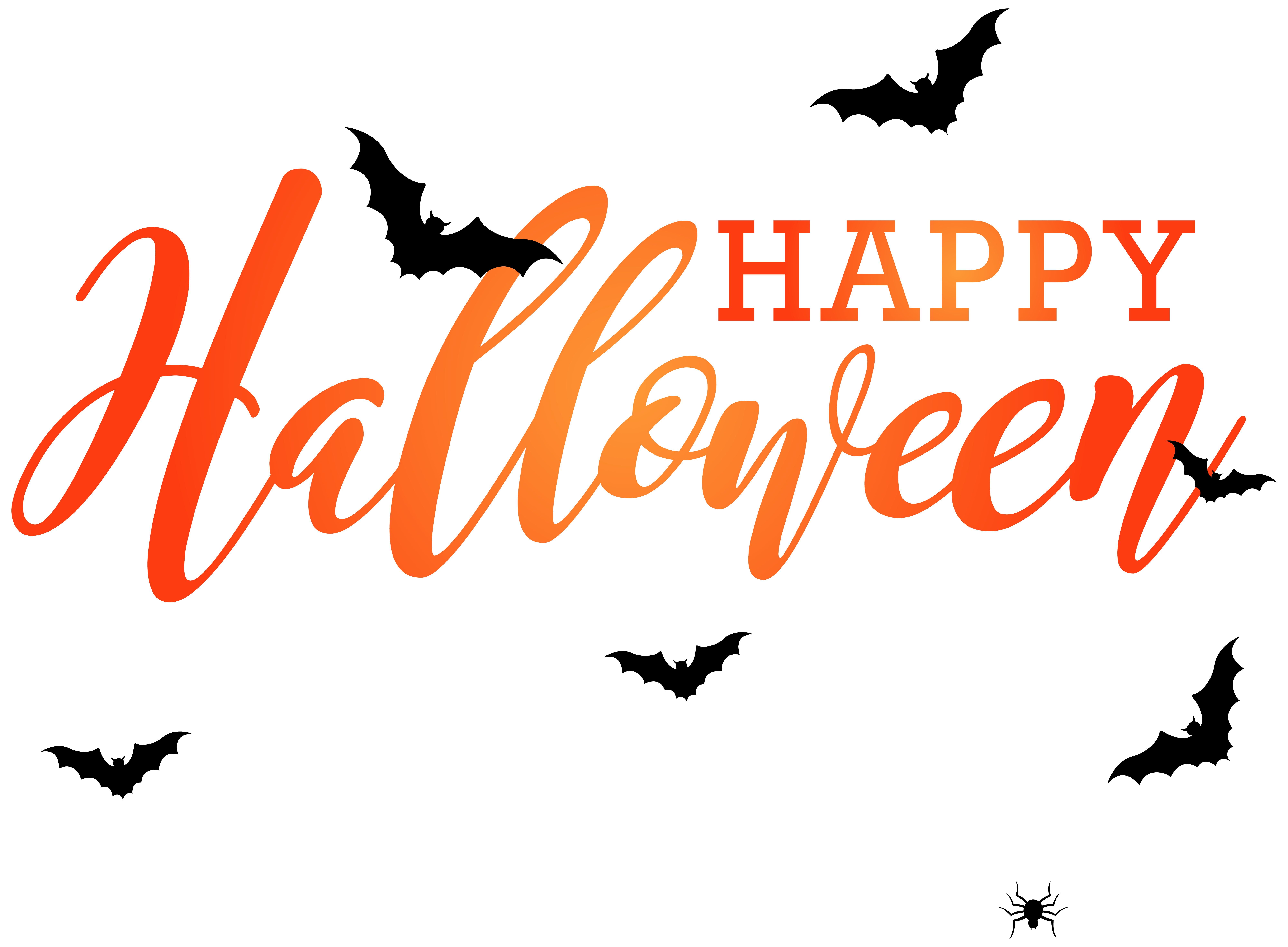 Happy Halloween With Bats Png Clip Art Image