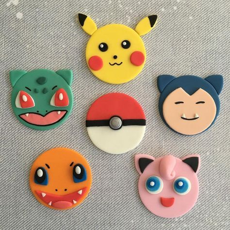 12 pokemon go pikachu jigglypuff snorlax charmander bulbasaur fondant cupcake toppers. Black Bedroom Furniture Sets. Home Design Ideas