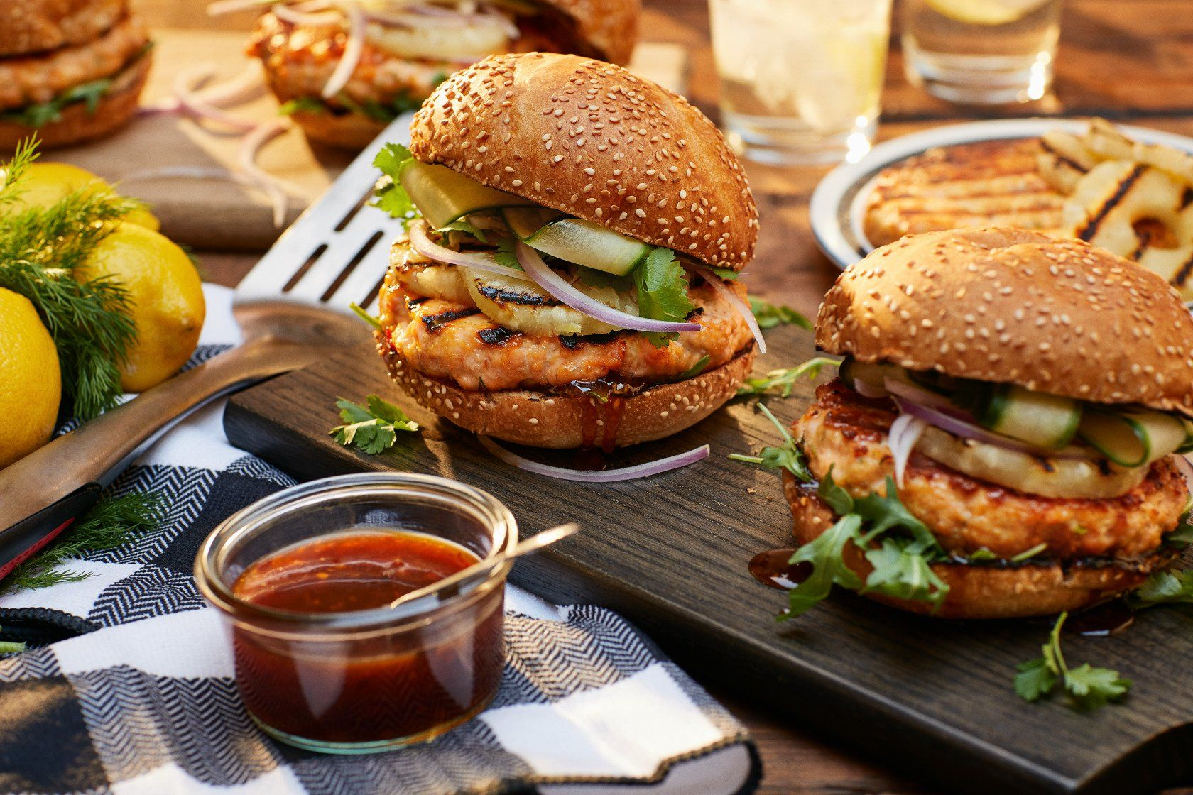 Grilled Salmon Burgers With Thai Sauce Char Broil Recipe In 2020 Salmon Burgers Grilled Salmon Burgers Grilled Salmon