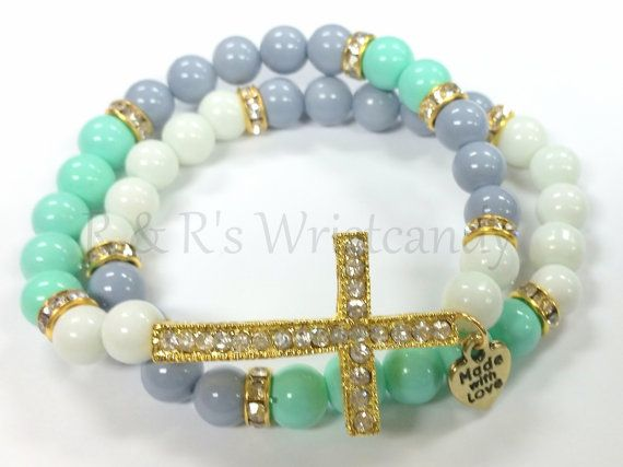 Colorblock Beaded Handmade Bracelet Gold Cross by RandRsWristCandy $9
