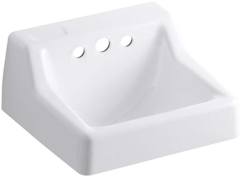 "Kohler K-2705-EH Hampton 14"" Cast Iron Wall Mounted Bathroom Sink with 3 Holes D White Fixture Lavatory Sink Cast Iron"