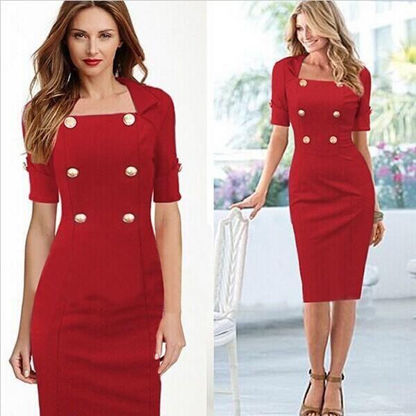 Half sleeve dresses, Elegant red dress