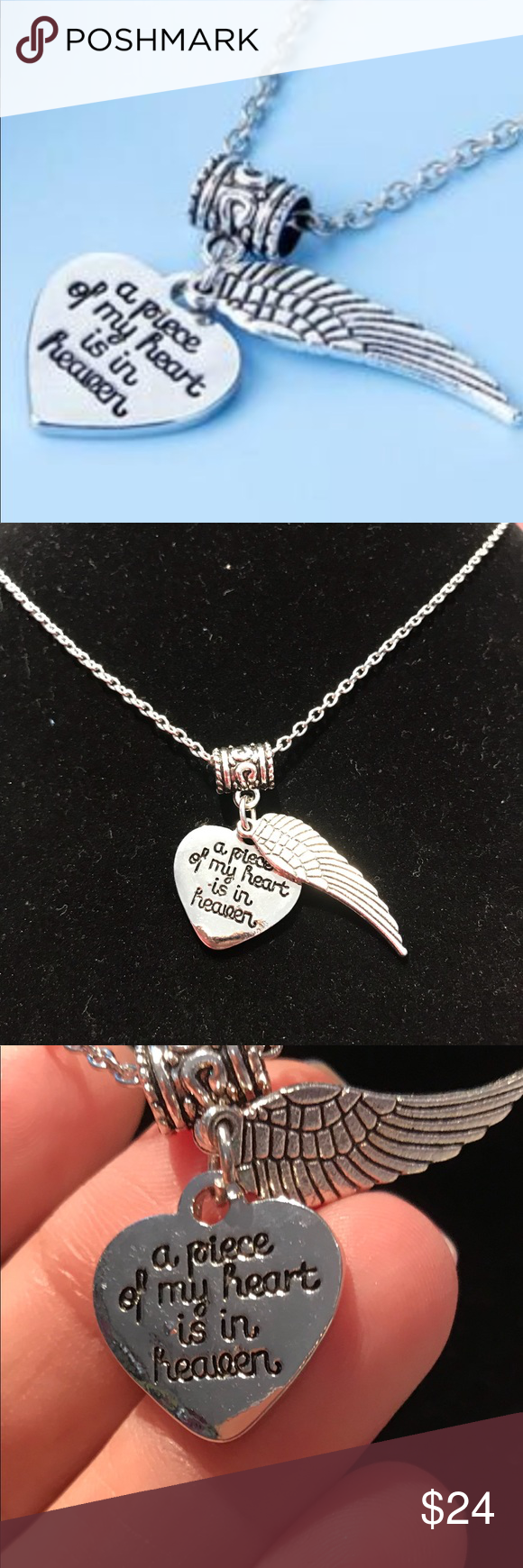 "🙏🏻 Love Necklace 🙏🏻 Beautiful piece ... 🙏🏻""A Piece Of My Heart Is In Heaven""🙏🏻 just a pretty piece ... 18"" chain w/ 2"" extender  Material: Stainless Steel Jewelry Necklaces"