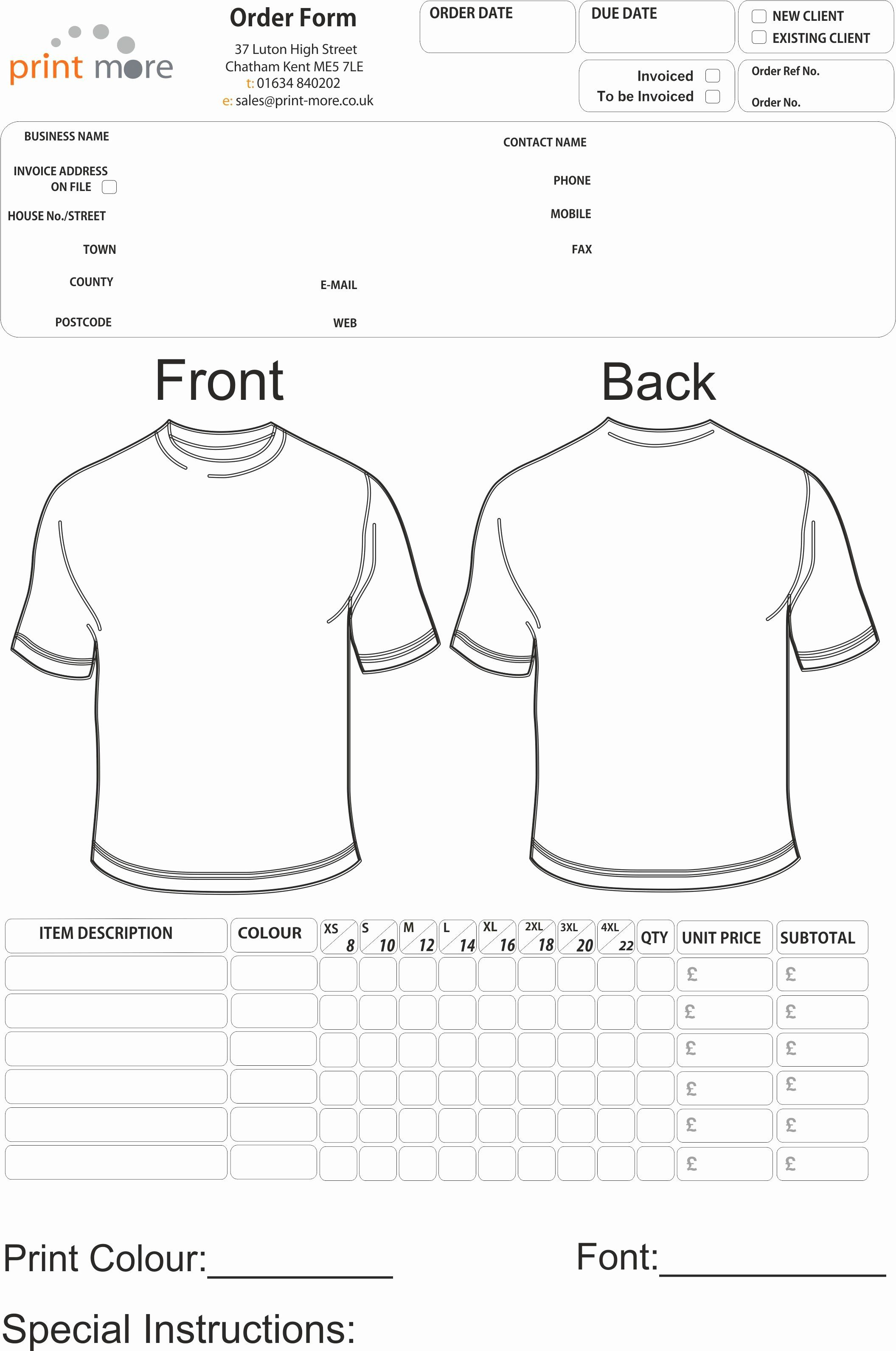 Pre order form Template Lovely T Shirt order form Template