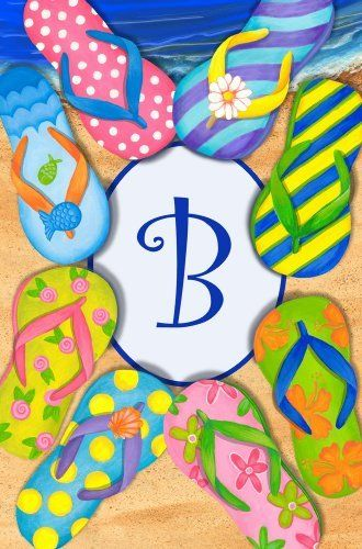0c46b3b2d58c Tropical Flip Flop Circle Monogram Garden Flag by Custom Decor.  5.99. Made  of permanently dyed polyester. Fits standard garden flag stand.