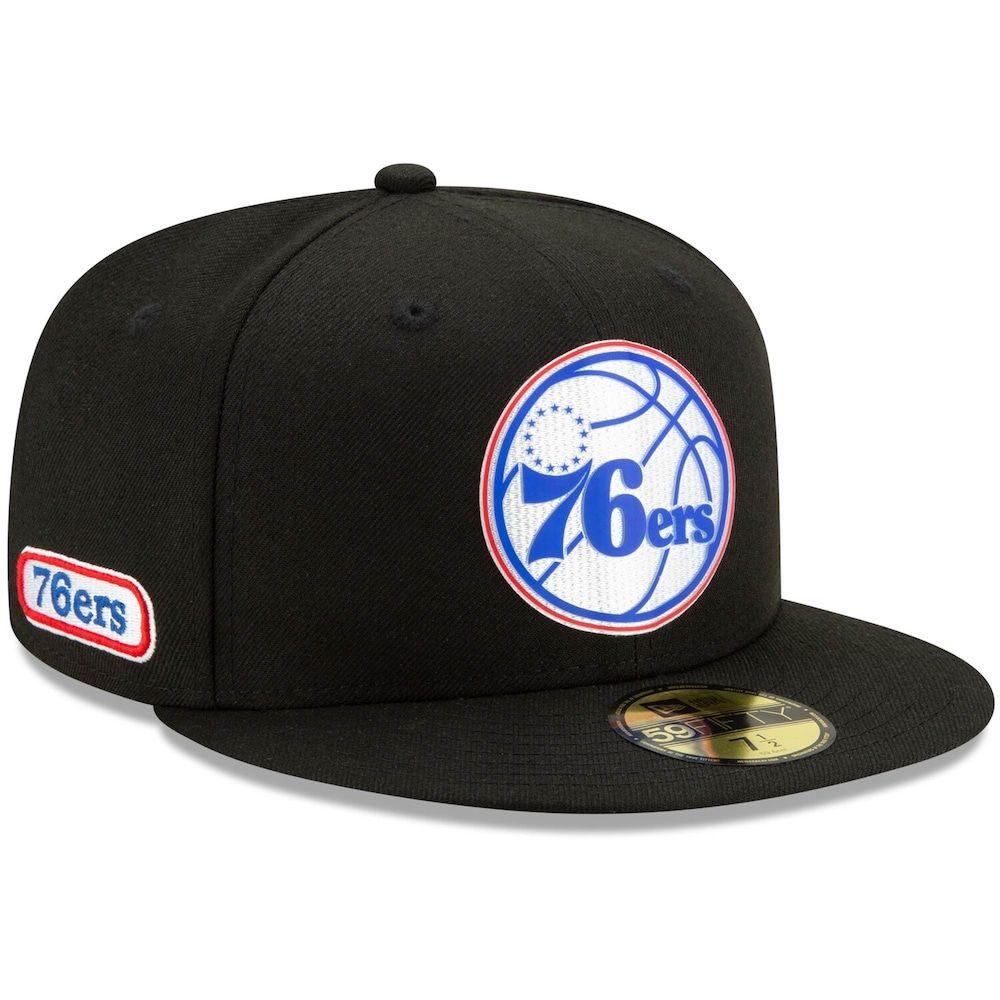 Men S New Era Black Philadelphia 76ers Official Back Half 59fifty Fitted Hat Fitted Hats Philadelphia 76ers New Era