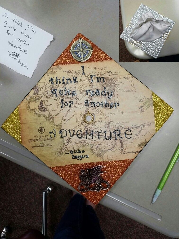 Lord Of The Rings Graduation Cap Bilbobaggins Jrrtolkien Lotr Gradcap Graduation Cap Decoration College Graduation Cap Graduation Cap Designs