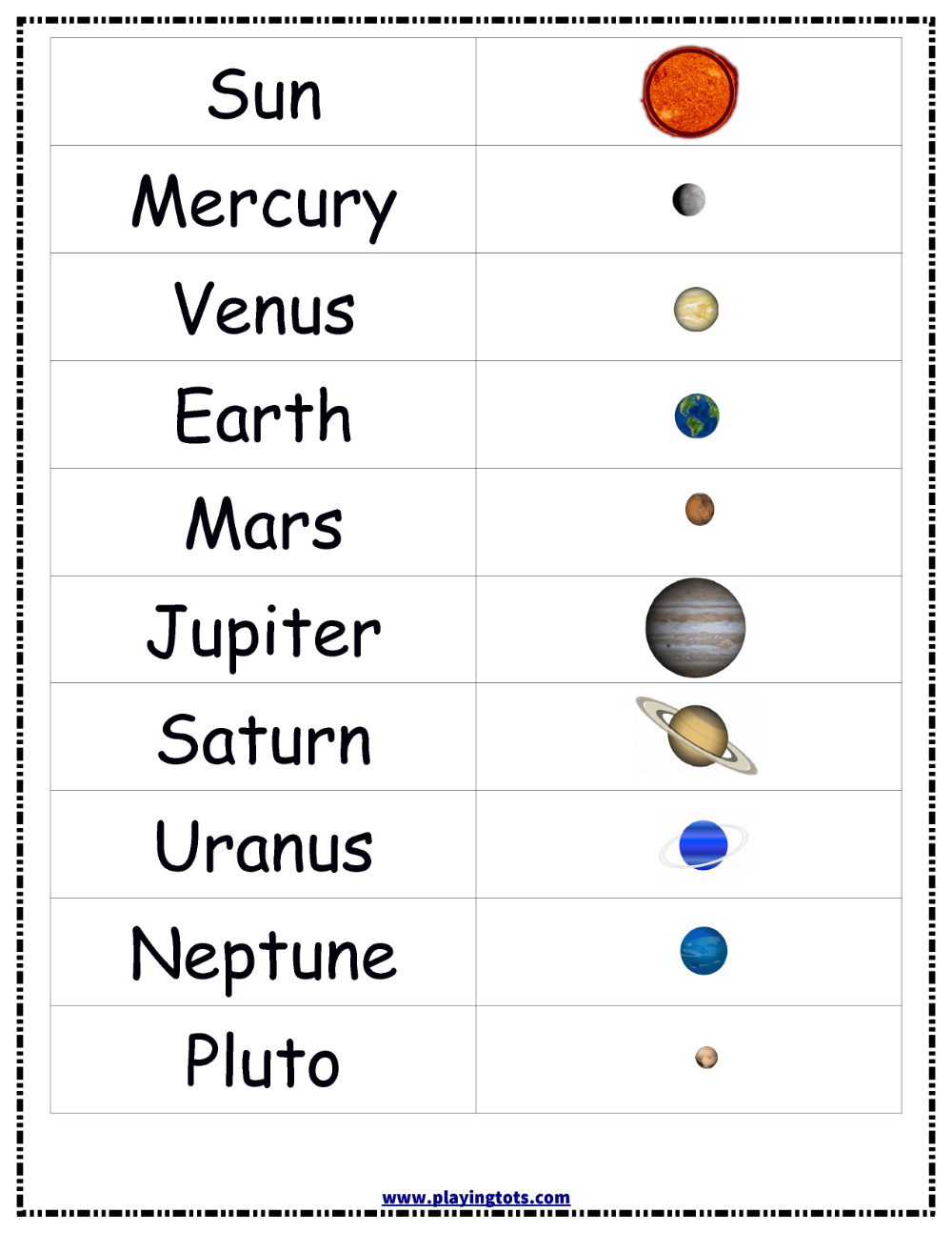 Free Printable For Kids Toddlers Preschoolers Flash Cards Charts Worksheets File Space Activities For Kids Solar System Projects For Kids Planets Preschool [ 1294 x 1000 Pixel ]