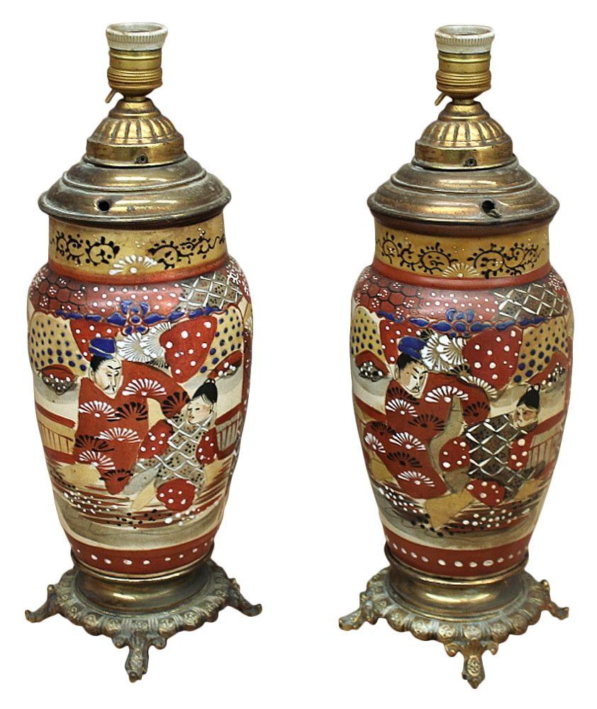 PAIR 19th Century Imari Satsuma Table LampsCirca 1890sEach measures 16H x 7 in Diameter (before conversion)