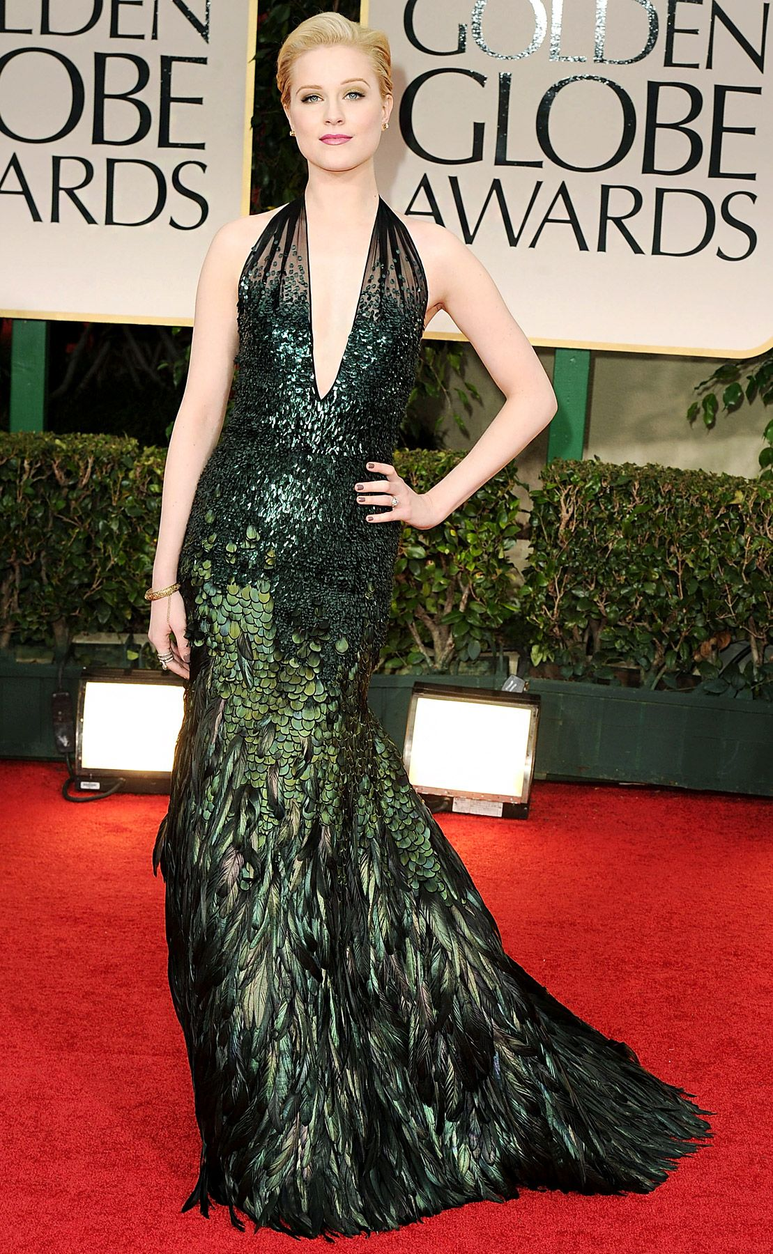 Evan Rachel Wood The newly-engaged star won rave reviews for this custom green sequin Gucci halter gown, which featured a sexy plunging neckline.