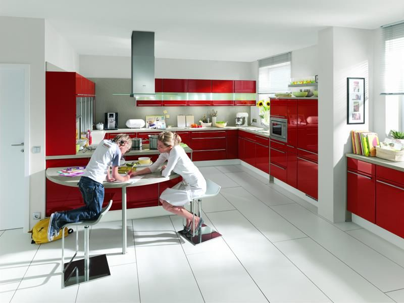 27 totally awesome red kitchen designs page 2 of 5 armoires rougescuisine rougecuisine - Cuisine Moderne Rouge Et Blanc