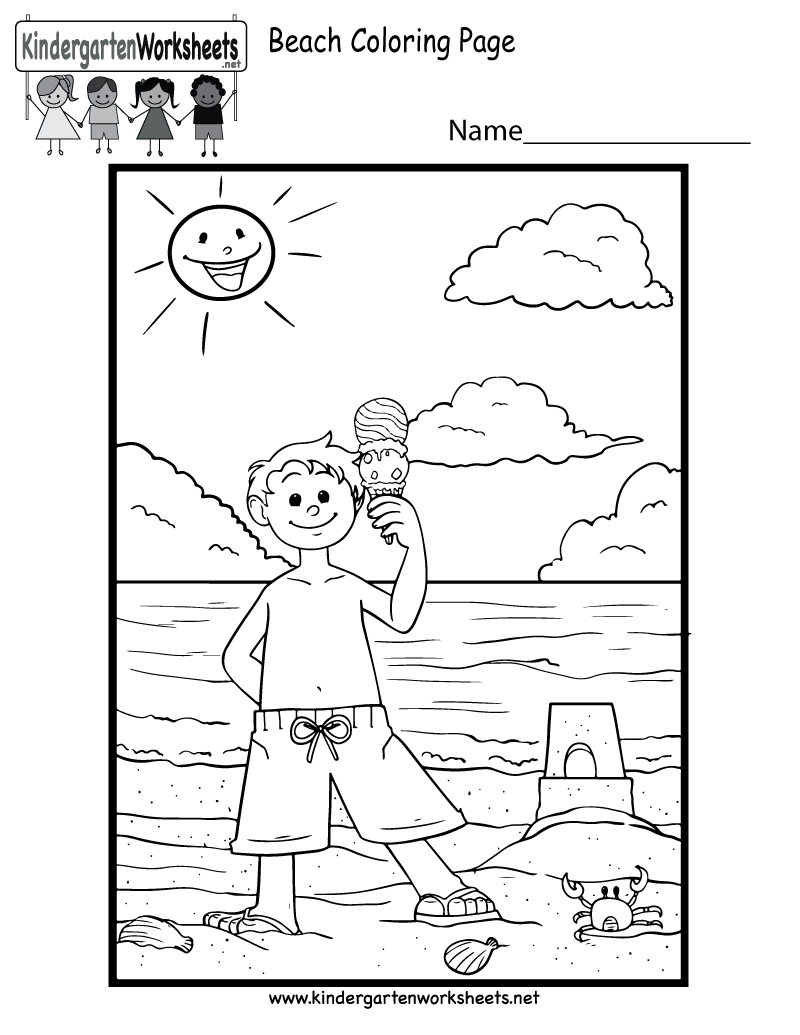 Kids Can Improve Their Motor Skills By Coloring A Cute Beach Scene In This Free Summer Ac Kindergarten Summer Worksheets Beach Coloring Pages Summer Worksheets [ 1035 x 800 Pixel ]