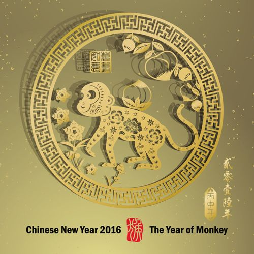 free download chinese new year 2016 monkey design vector 01 - Chinese New Year Year Of The Monkey