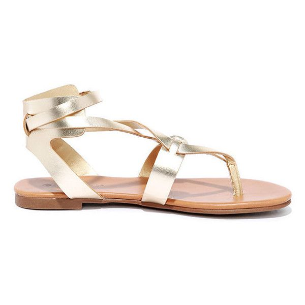 2577084017 Boho Babe Champagne Gold Thong Sandals ($19) ❤ liked on Polyvore featuring  shoes, sandals, champagne sandals, gold strappy sandals, gold sandals, ...