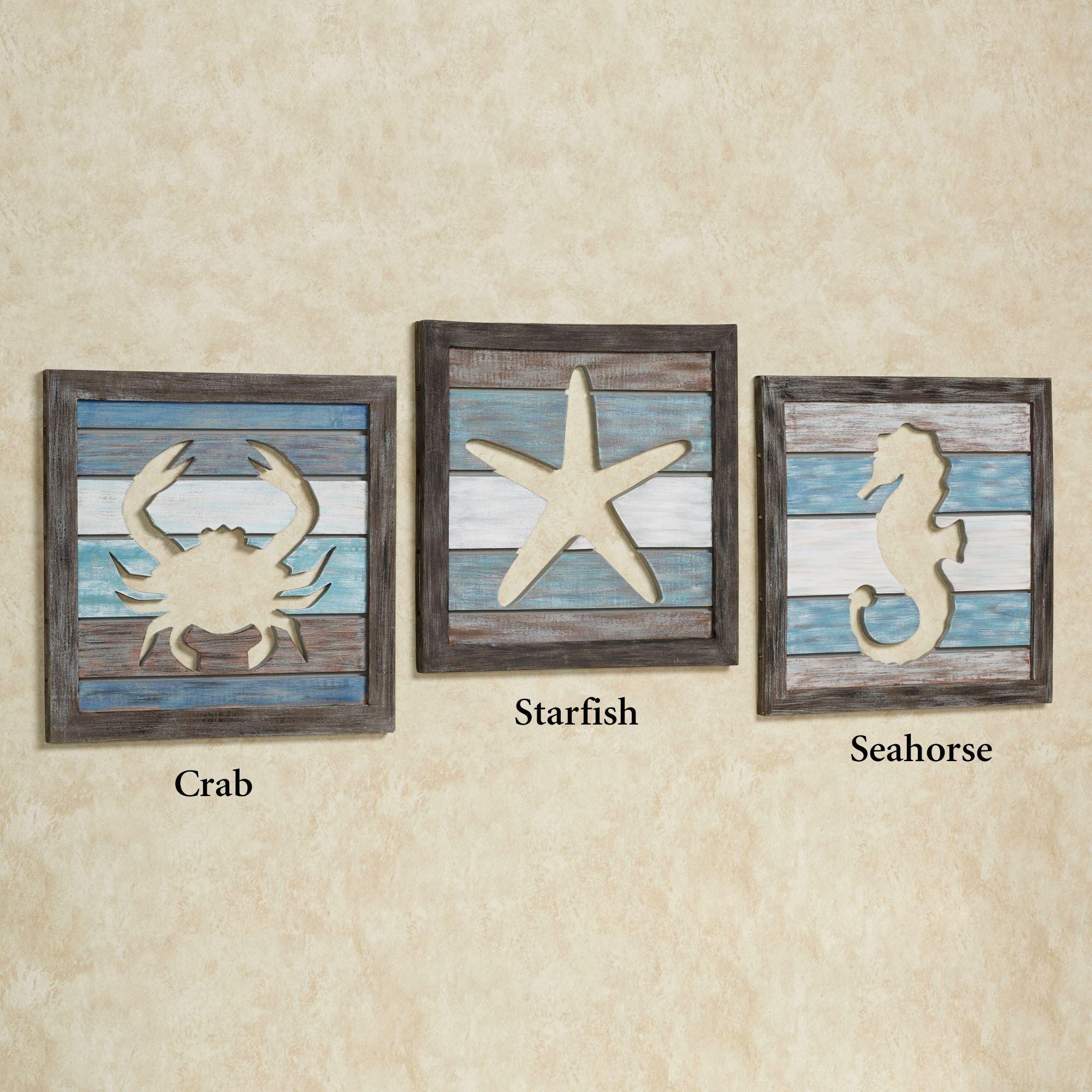 Sealife cutout slat indoor outdoor coastal wall art set craft