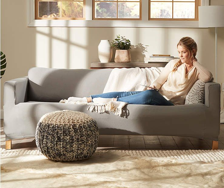 Sure Fit Gray Modern Mesh Stretch Sofa Slipcover ...