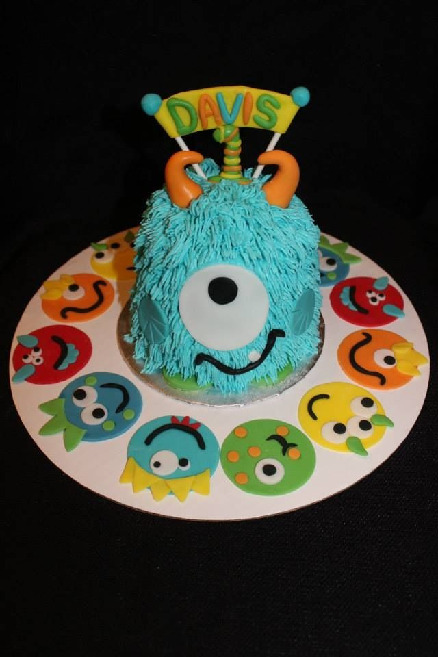 Adorable Monster Smash Cake And Cupcake Toppers For My Son