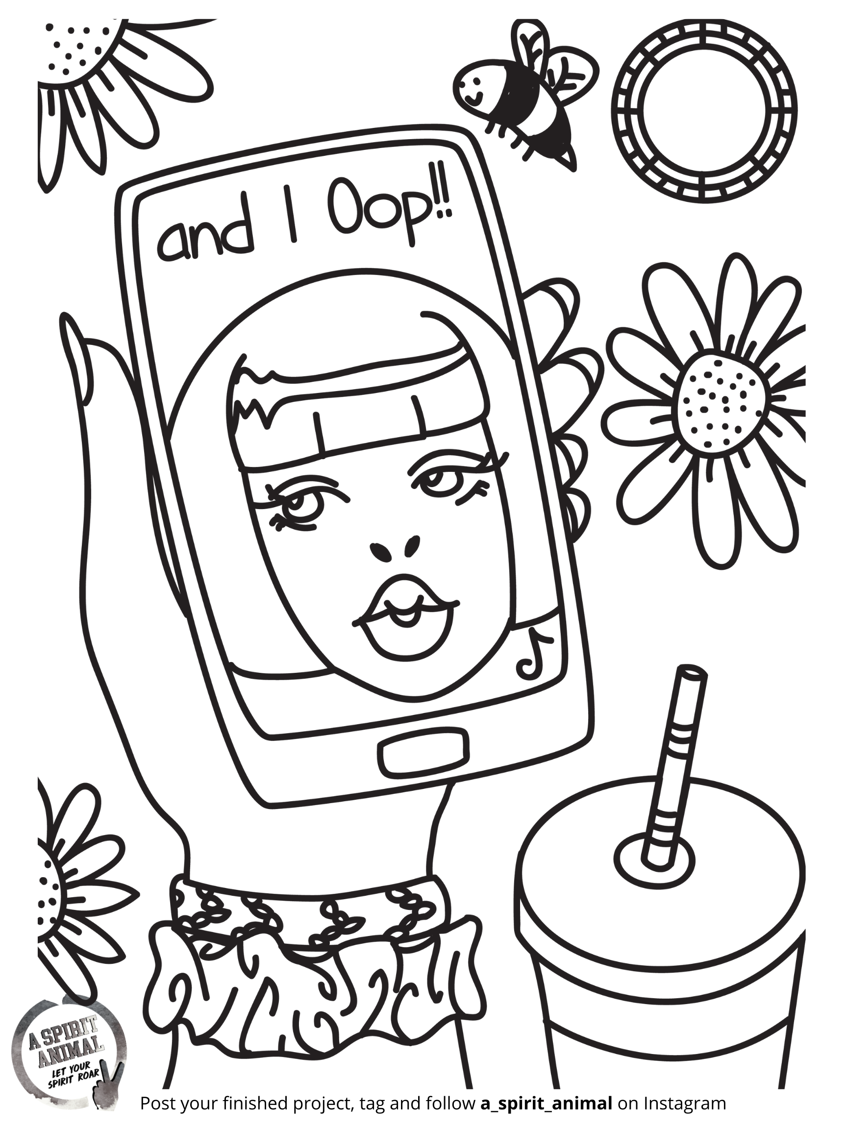And I Oop Vsco Girl A Spirit Animal Free Holiday Activity Coloring Pages Free Coloring Pages Spirit Animal Coloring Pages