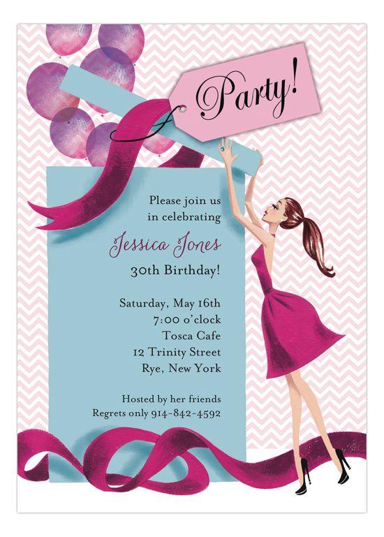 Balloon Gift Girl Invitation