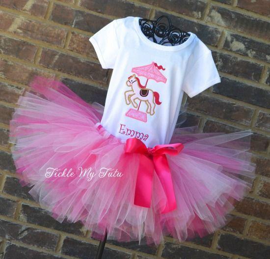 Pink Carousel Pony Birthday Tutu Outfit