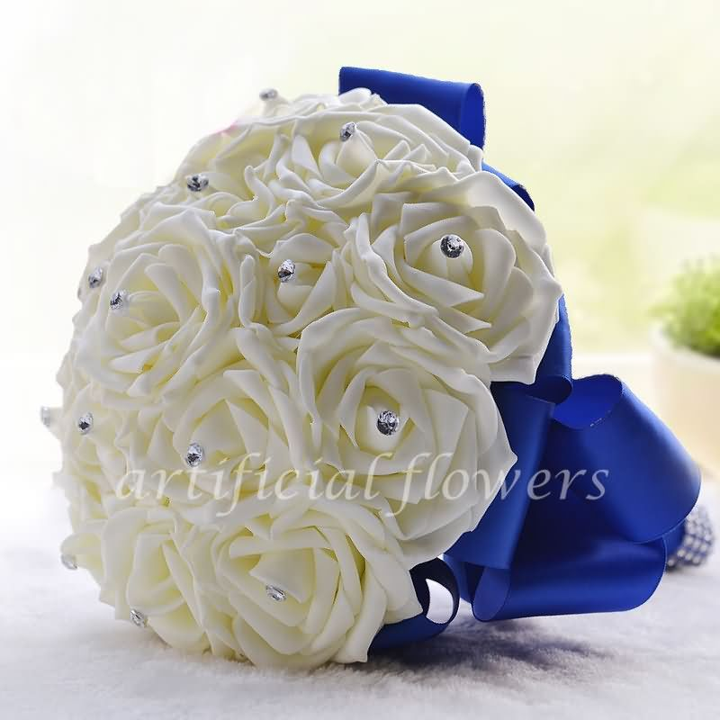 Artificial rose bouquet fake bridesmaid artificial flowers wedding artificial rose bouquet fake bridesmaid artificial flowers wedding bouquet white tall 20cm mightylinksfo Images