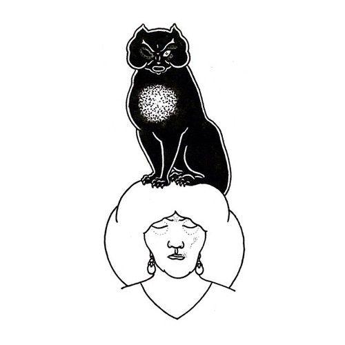 """Сделаю татуировку на основе творчества Обри Бердслея. """"Черный кот"""" Эдгар По."""